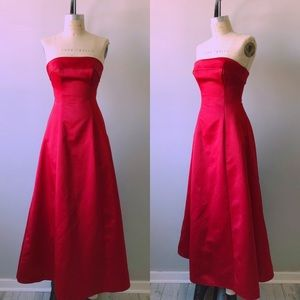 Rare Vintage 1950's Silk Satin Red Strapless Gown